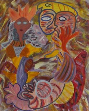 355 Vrouw met minnaars 2, 2002, 100 x 80, acryl