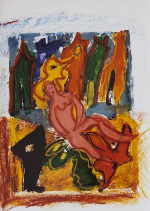 114 Woman with her Animals, 1997, 63 x 73, 350,-