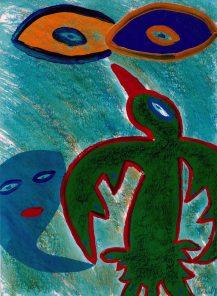 176 Groene Vogel, 1999, 59 x 74, 350,-