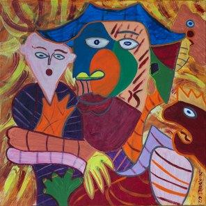 353 Stierenvechter, 2002, 90 x 90 cm, acryl, 550,-