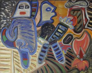 18 De Strijders, 1993 80 x 100 olie, 550,-