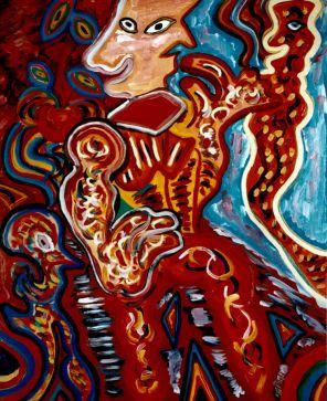 19 Dubbelgezicht, 1994 80 x 100 olieverf , 550,-
