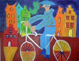 410 Fietser aan de Gracht, 2010 80 x 100 acryl