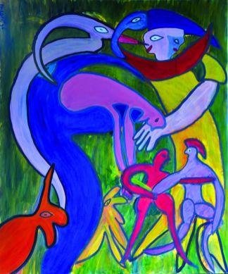 85 Het Gezin, 1996 120 x 100 olieverf, 750,-