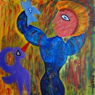 427 Vrouw met blauwe Vogel, 2014 100 x 100, acryl