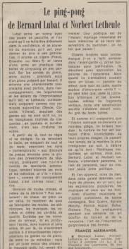 Letheule & Lubat, Le Monde, 7-8 Octobre 1979