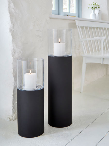 Black Floor Standing Hurricane Lamps