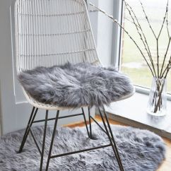 Kitchen Chair Seat Covers Huge Bean Bag Chairs Luxurious Sheepskin Cover - Grey