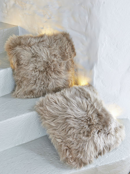 Luxurious Caramel Sheepskin Cushion  Nordic Sheepskin Cushion