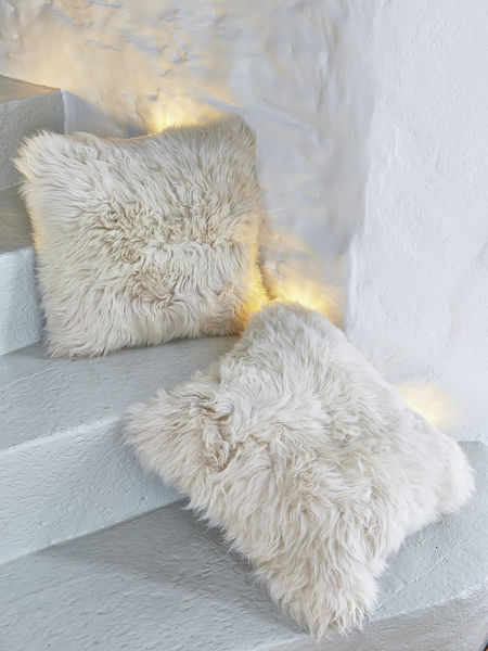 Luxurious Linen Sheepskin Cushion Linen Colour Sheepskin