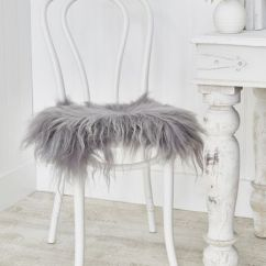 Linen Dining Chair Covers Slip Cover For And A Half Icelandic Sheepskin Seat - Soft Grey