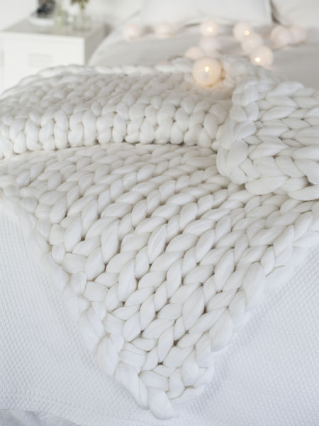 White Chunky Knit Blanket  Luxury White Knitted Blanket