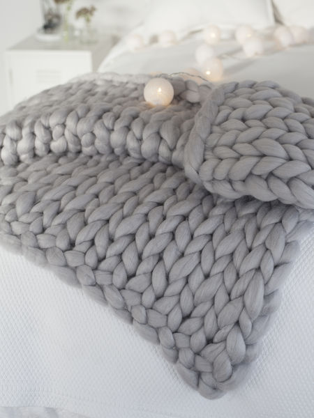 Super Chunky Grey Knit Blanket  Chunky Grey Knitted Blanket