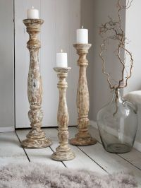 Large Wooden Floor Candle Holders