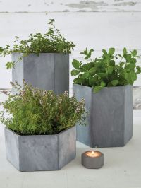 Hexagonal Outdoor Concrete Planters