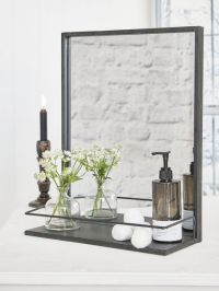Distressed Metal Shelf Mirror | Industrial Shelf Mirror