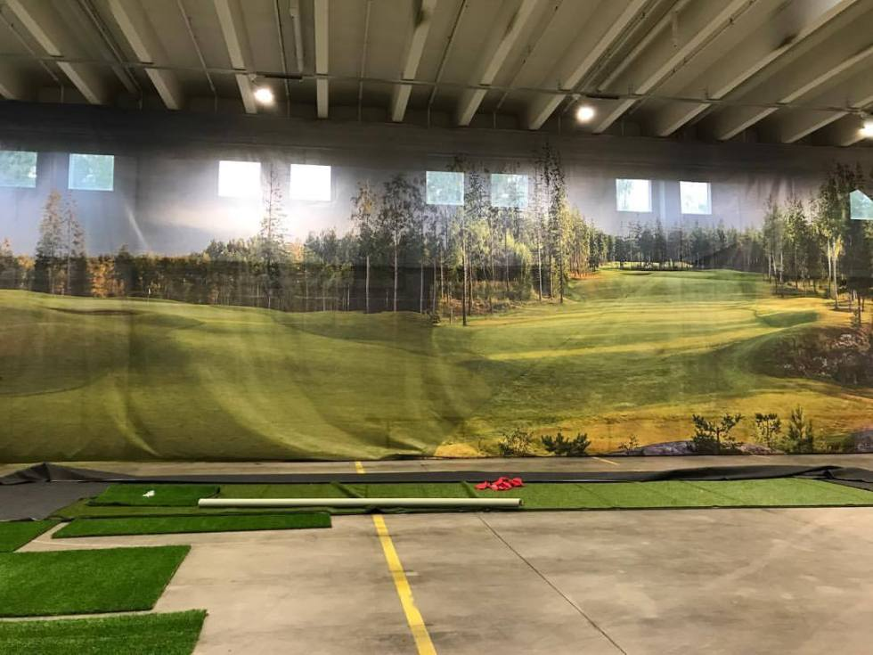 Rakennusvaihe golf halli, sisähalli Swingmakers golf