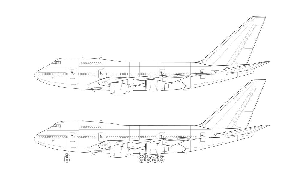 Boeing 747SP blank illustration templates