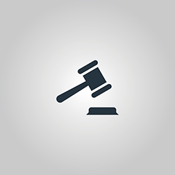 Judge gavel. Flat web icon or sign isolated on grey background. Collection modern trend concept design style vector illustration symbol
