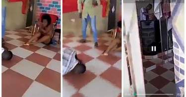 Pastor caught red-handed sleeping with married woman on church altar (Video)