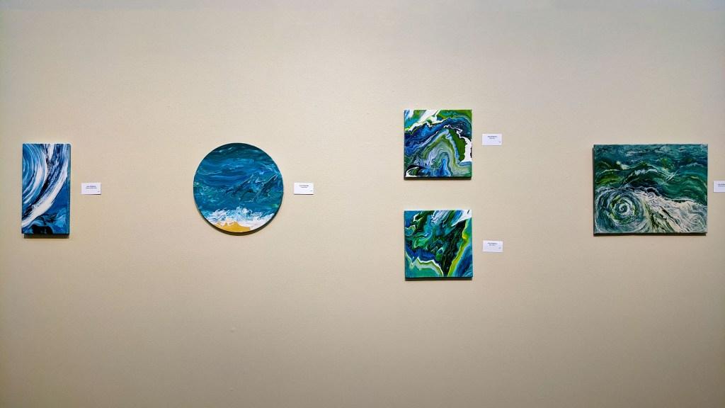 Art pieces in the atrium.