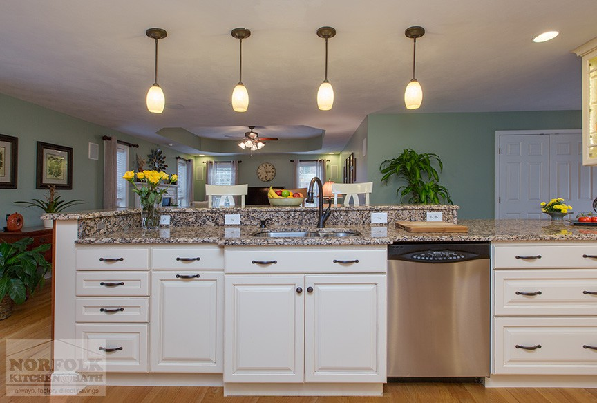 decorative molding kitchen cabinets how to build a island remodel nashua with linen and custom bench