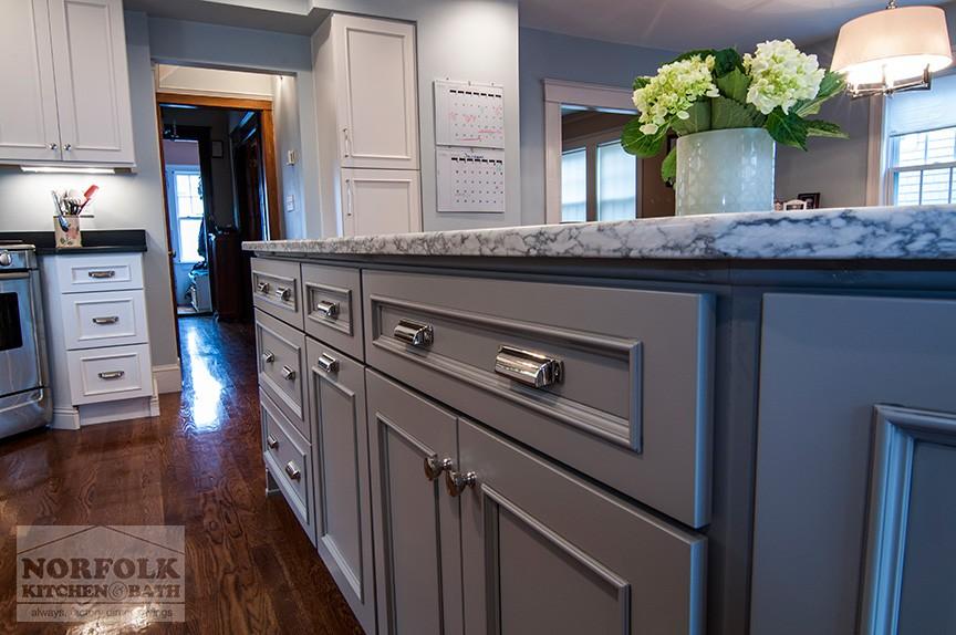 Custom white kitchen with Gray Island