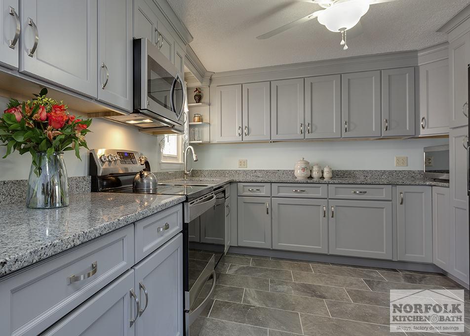 Transitional Gray Kitchen in Hudson NH  Norfolk Kitchen  Bath