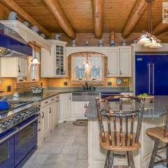 Country Kitchen Island Sink Baby Bath Tub Log Cabin With Blue Appliances - Norfolk ...