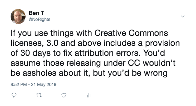 Don't use Creative Commons below 3.0