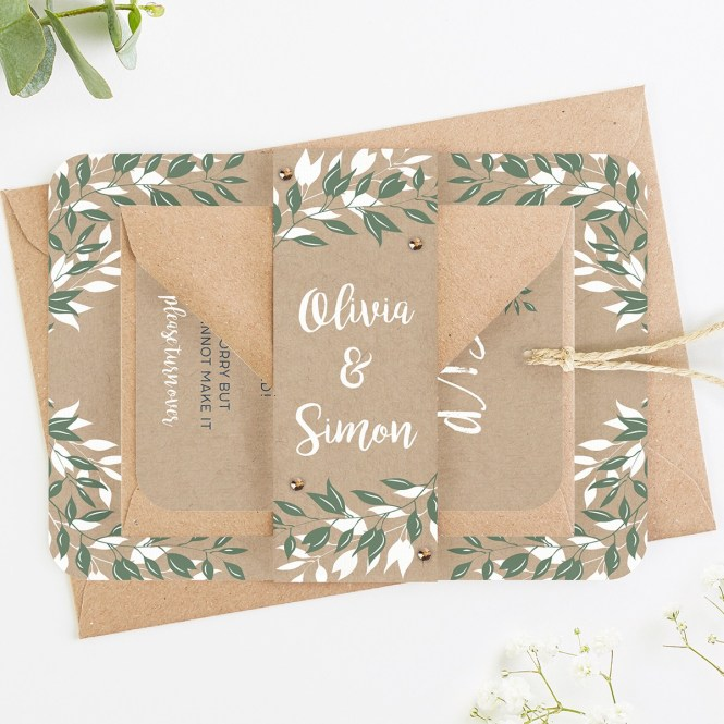 Botanical Rustic Kraft Wedding Invitations
