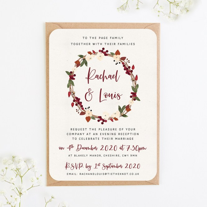 Winter Fl Evening Wedding Invitations