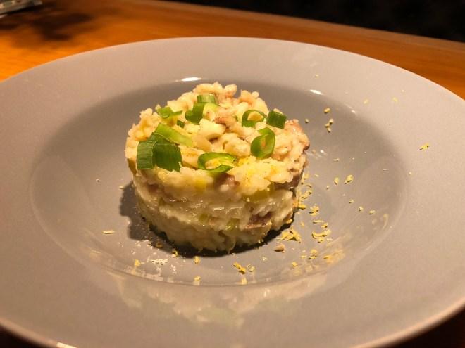 truffel risotto met kastanje en kip