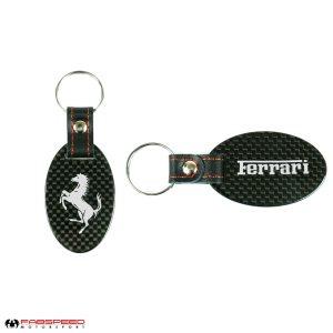 Ferrari Cavallino Silver Carbon Fiber Keyring