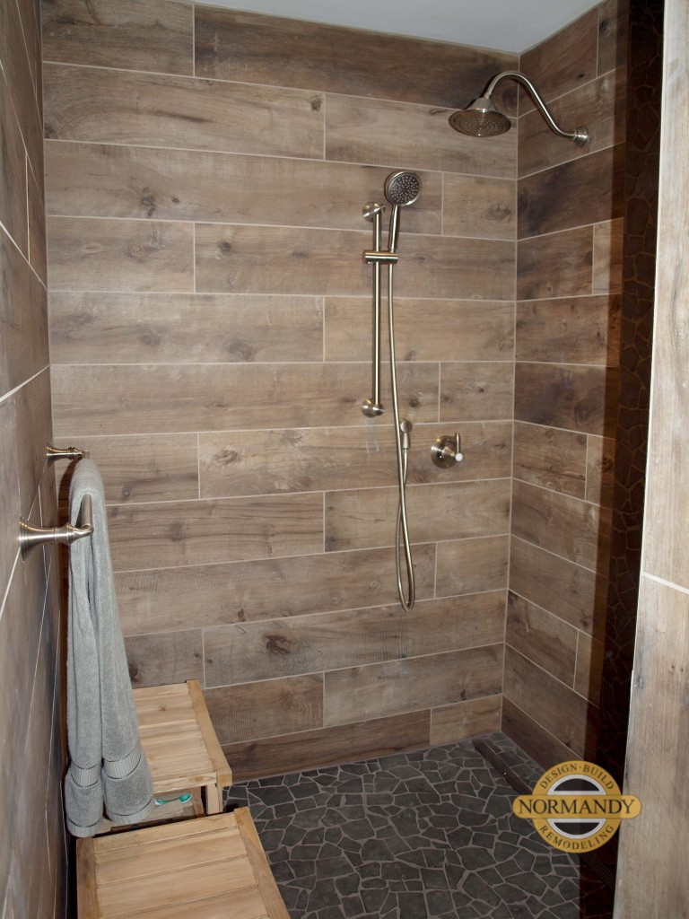 WoodLook Tile on Walls  Normandy Remodeling