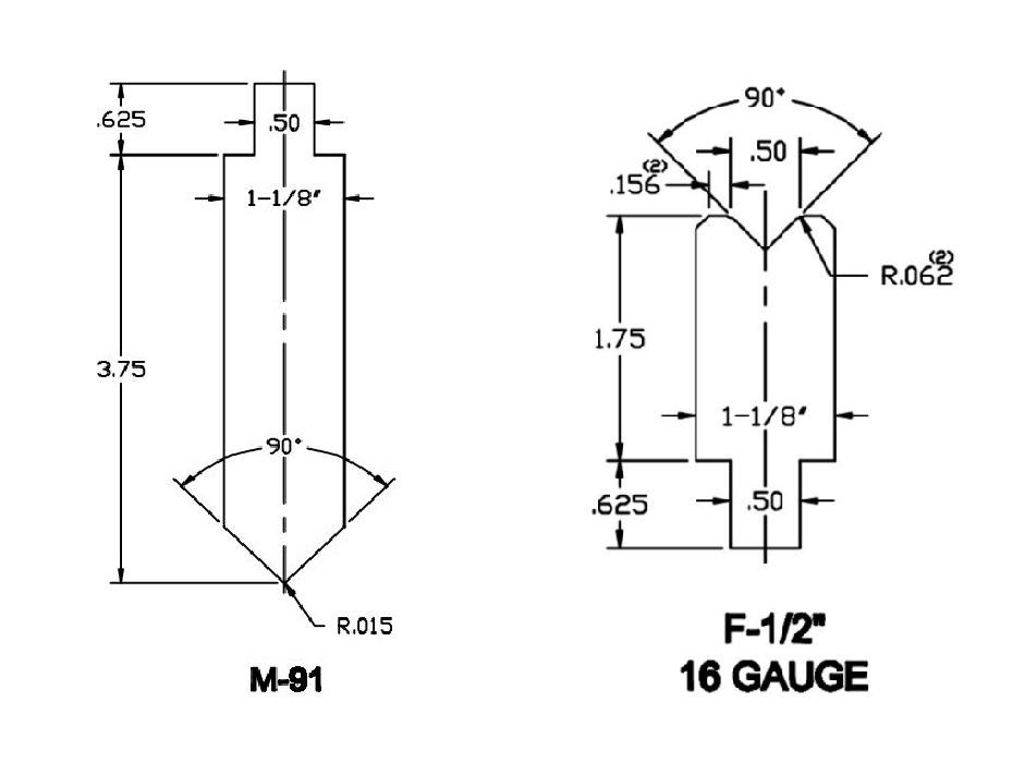 Specific 16 Gauge 90° Forming Punch & Die Press Brake