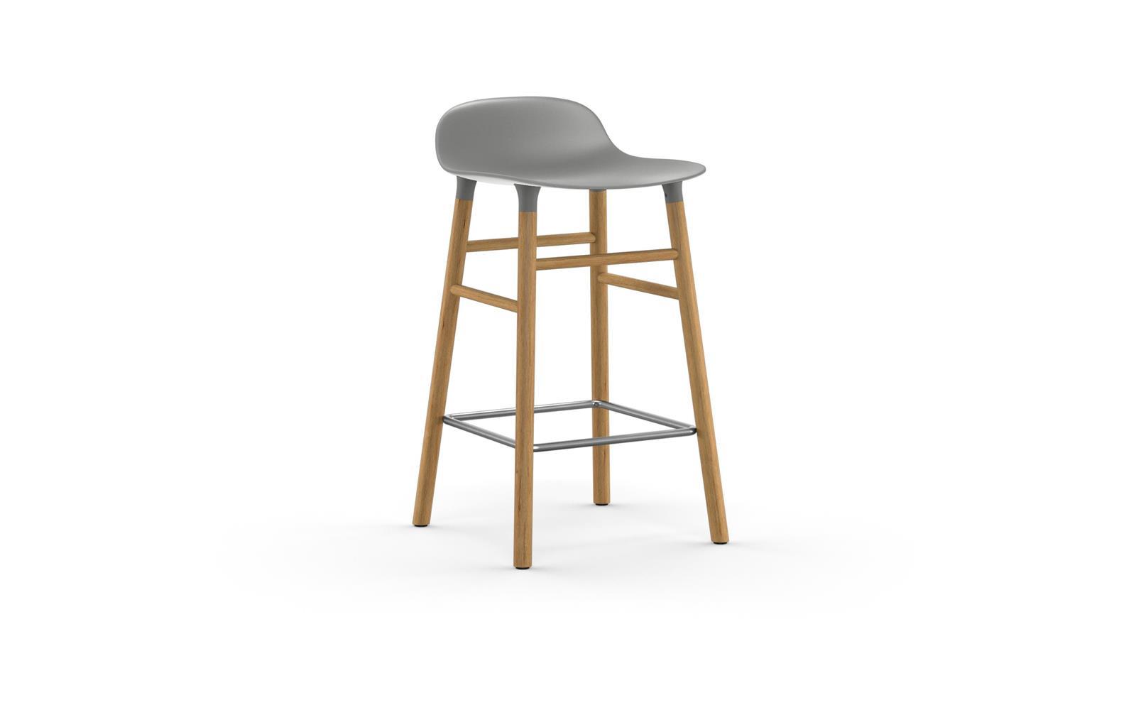 bar stool chair grey commercial restaurant chairs form molded plastic shell with oak legs barstool 65 cm oak1