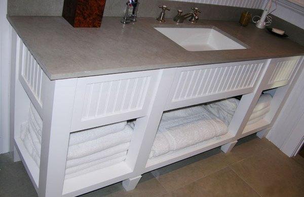 Custom white bathroom vanity