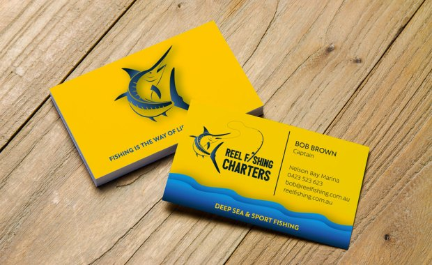 Logo illustration Marlin - business cards - Newcastle, Port Stephens, Hunter