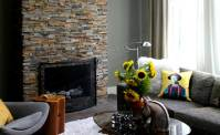 Natural Stacked Stone Veneer Fireplace   Stack Stone ...