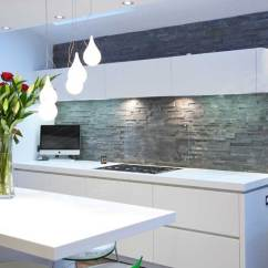 Stacked Stone Kitchen Backsplash Moroccan Tile Natural Tiles For Kitchens And Bathrooms With White Floating Cabinet Modern Glass Guard Protector Above Stove