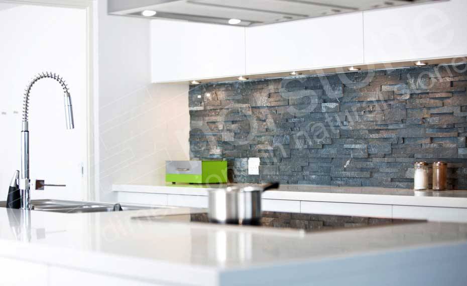 stacked stone kitchen backsplash ikea carts natural tiles for kitchens and bathrooms beautiful gray ledgestone panels used in a application made from norstone charcoal rock panel collection