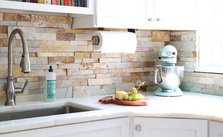 stone kitchen backsplash craigslist island natural stacked tiles for kitchens and bathrooms a detail worth not overlooking