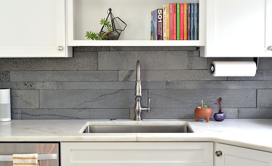 stacked stone kitchen backsplash reclaimed wood shelves natural tiles for kitchens and bathrooms norstone planc series in platinum lavastone on a backplash orlando florida
