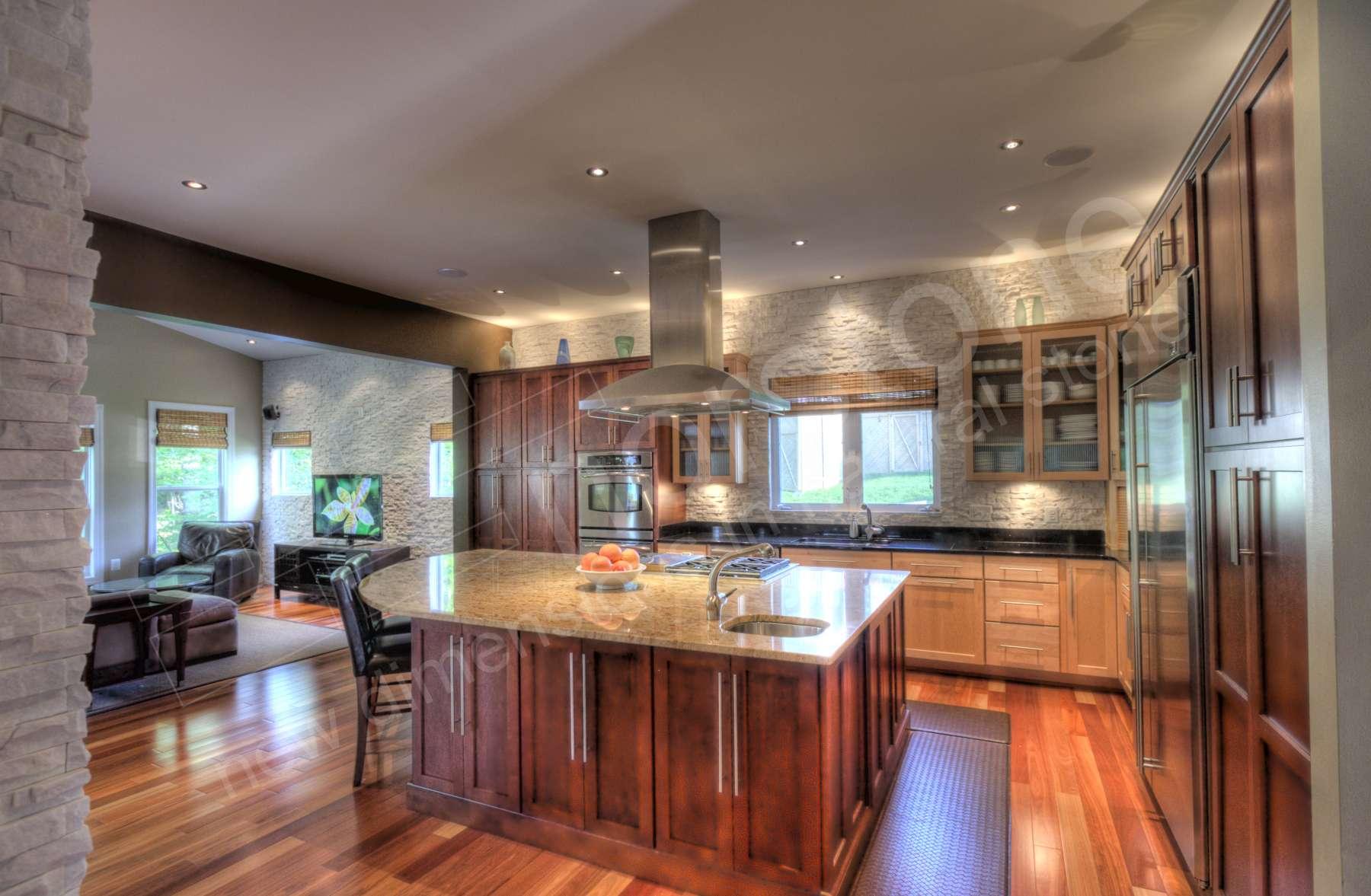 stacked stone kitchen backsplash cabinets paint white virginia