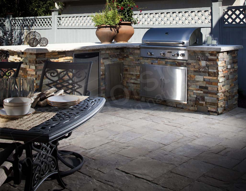 stacked stone outdoor kitchen pictures of countertops
