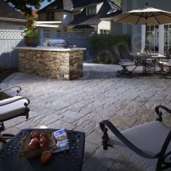 Stacked Stone Outdoor Kitchen Splatter Shield Wall Protector
