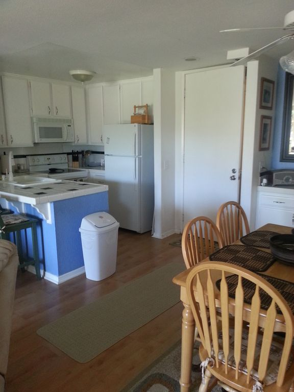 B126 blue and white kitchen and dining area