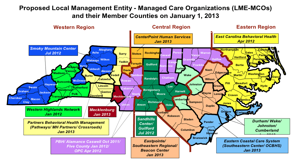 Map of the state's mental health agencies or LMEs