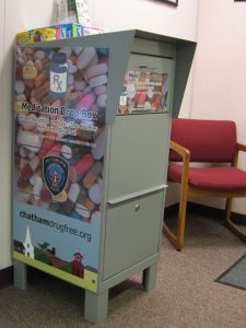 The new medication drop box in the Pittsboro Town Offices.